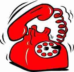 赤い旧式の電話がなる