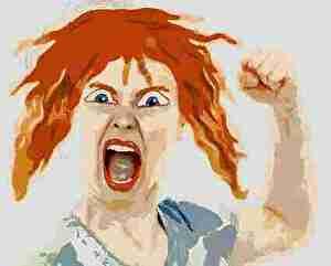 怒る、女性