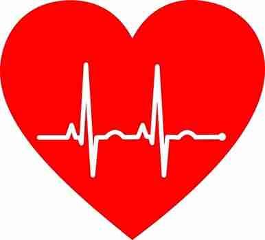 赤いハートの心電図