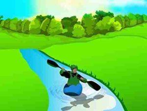 川でカヤックをする