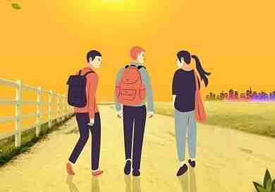 歩いて進む三人