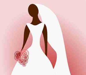 ウェディングドレスの花嫁とブーケ