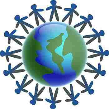 地球を取り囲む人たち