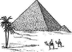 ピラミッドと二匹のラクダに乗った人