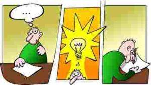 考える、思い付き、アイデア