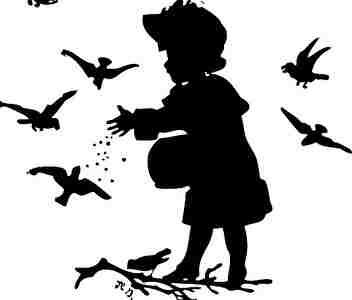 鳥にエサをあげる女の子