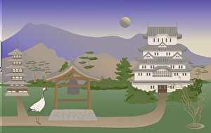 静かな城と鶴