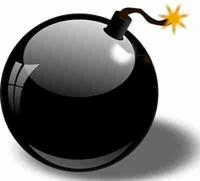火のついた爆弾