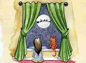 カーテン、女の子、ネコ、つき、よる