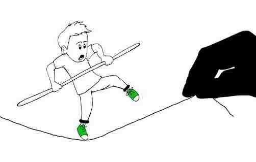 バランスをとる人、綱渡り