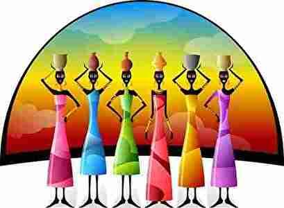 細い6人のアフリカの黒人女性
