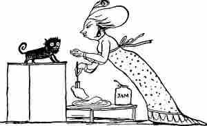 ジャムと子猫と女性