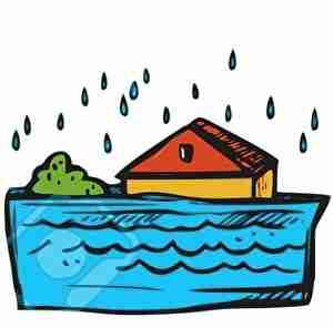 洪水、沈む家