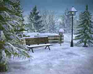 霜が降りたベンチ