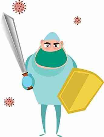 盾と剣を持って戦う人