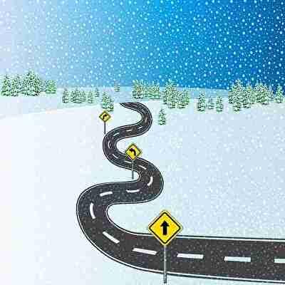 冬の寒い道路と標識