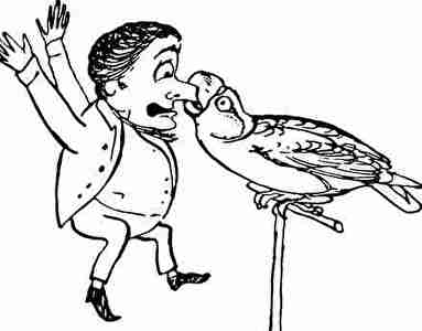 鳥に鼻をかまれた人