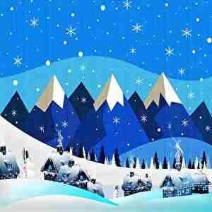 冬の雪山、雪だるま