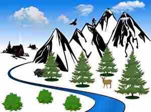 霜が降りた寒い山とシカ