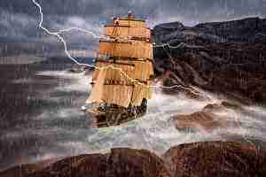 すごいく激しい雨、雷、船