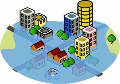 洪水で水浸しの都市