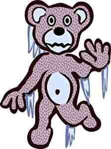 凍って動かなくなったクマ