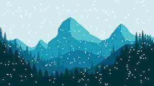 寒い雪山、自然
