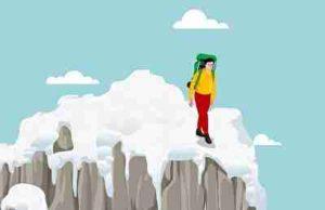 雪山を登る勇気のある男性
