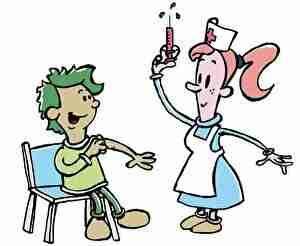子どもに予防接種する看護師