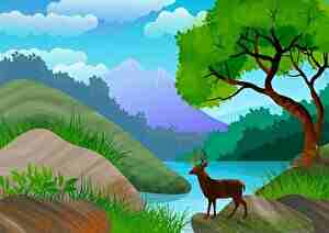 静かな森の中のシカ